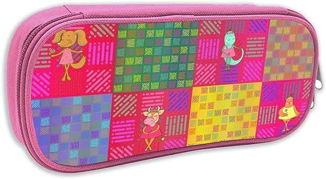 Estuche de lápices Infantil,2 Animales DE Patchwork DE CHEATERQUILT EN LA Marca DE Rosa, Marca ROJA_5774 - floweryhat, pingk: Amazon.es: Juguetes y juegos