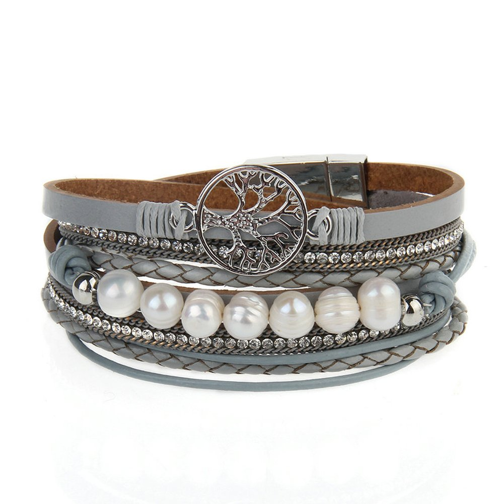 Jenia Tree of life Leather Bracelet Rope Wrap Pearl Cuff Wristband for Women with Gift Bags