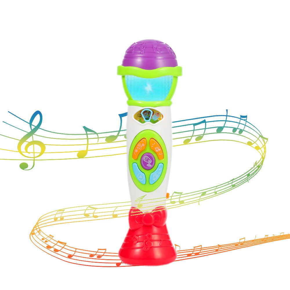 FunsLane Kids Microphone Toy Voice Changer Karaoke Machine Toddler Recording, Play Music Function Colorful Lights, Girls Boys Party Favor Toy Great Birthday