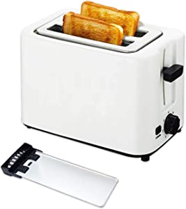 Toaster 2 Slice with Extra Wide Slot and Double Side Baking, Stainless Steel Compact Evenly Quickly Bread Toaster with Removable Crumb Tray and 6 Settings, Cancel Function, Auto Pop Up, White