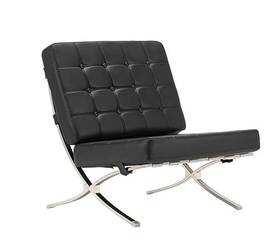 MCombo Lounge Sillón Relax Butaca Modern Lounge Silla PU Piel Acero Inoxidable