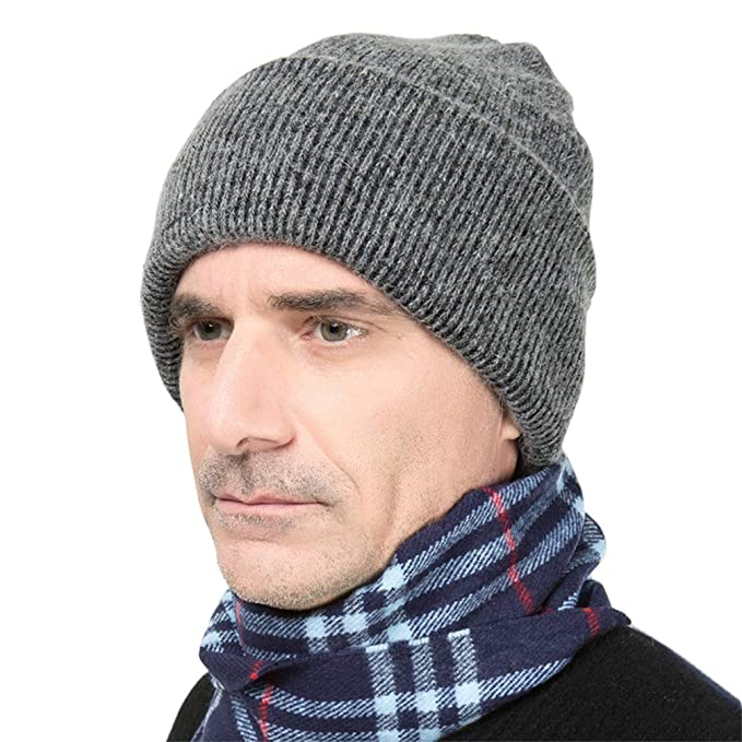Hatycm Mens Winter Knitting Rabbit Wool Warm Hat Daily Slouchy Hats