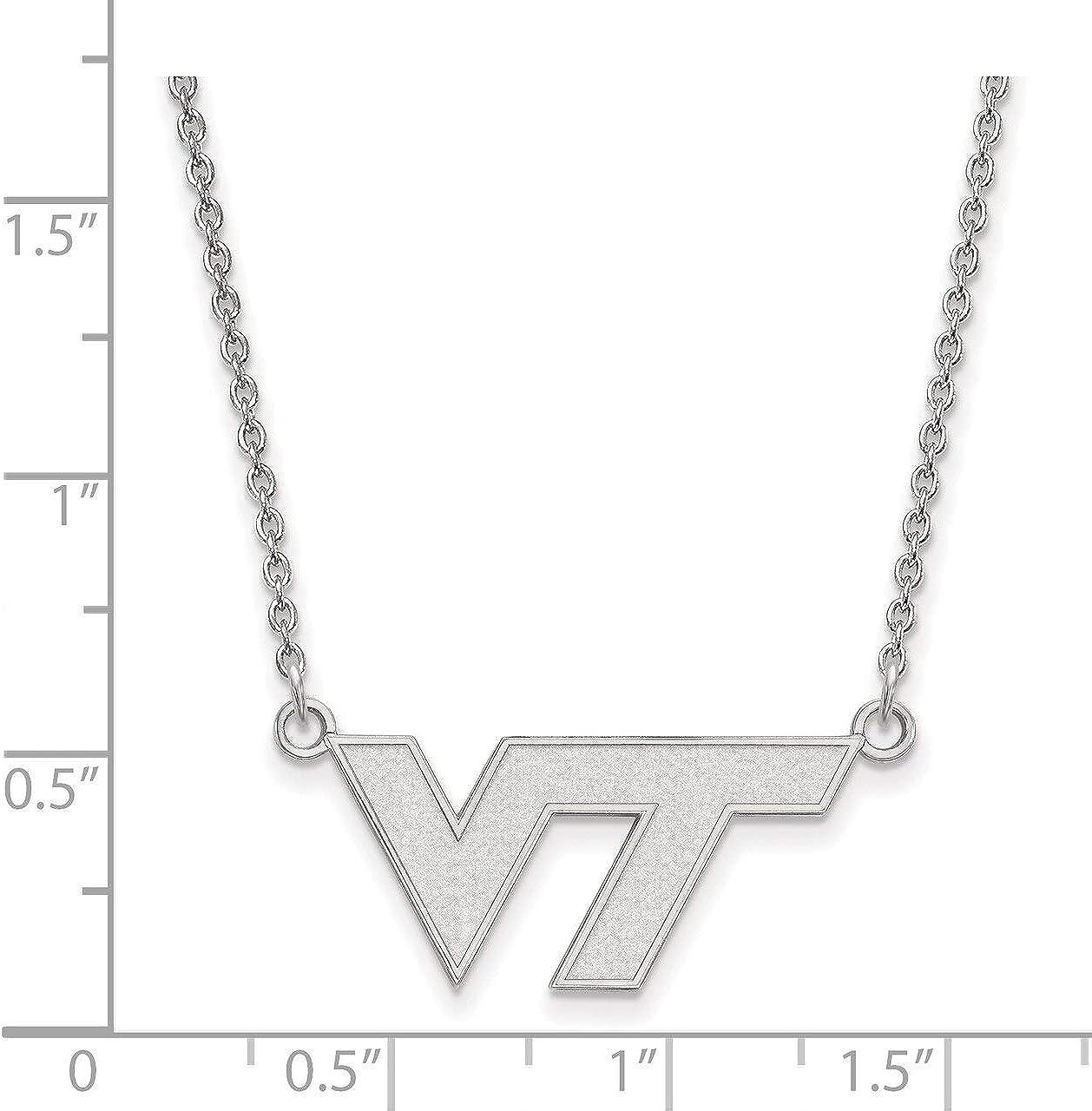 Lex /& Lu LogoArt Sterling Silver Virginia Tech Small Pendant w//Necklace LAL144458