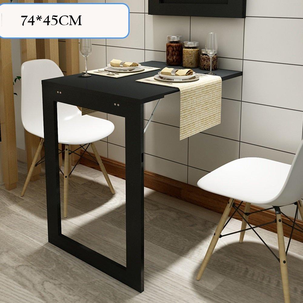 FEIFEI 折りたたみ式壁掛け型ドロップリーフテーブル、多機能コンピュータデスク子供用テーブルデスク、キッチンダイニングテーブル、壁掛けテーブル、折り畳み式フォトフレーム スペースを節約する (色 : ブラック, サイズ さいず : 74*45CM) B07DKZW2RD 74*45CM|ブラック ブラック 74*45CM