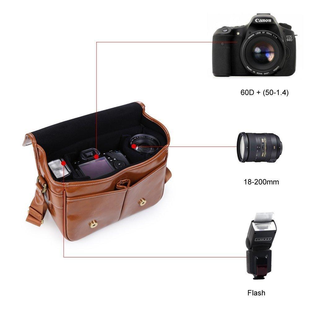Beaspire Camára Bolsa Bandolera Impermeable de Cuero Sintético Mensajero Funda Protector para 1 DSLR Cámara con 2 Lentes para Canon Sony Nikon Olympus de Viajes (Marrón Oscuro)