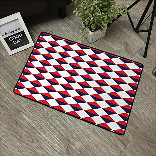 Outdoor Door mat W35 x L47 INCH Americana,Half Triangles Diamond Shapes Retro Navy Inspired Artwork Print,Red Dark Blue and White Our Bottom is Non-Slip and Will not let The Baby Slip,Door Mat Carpet