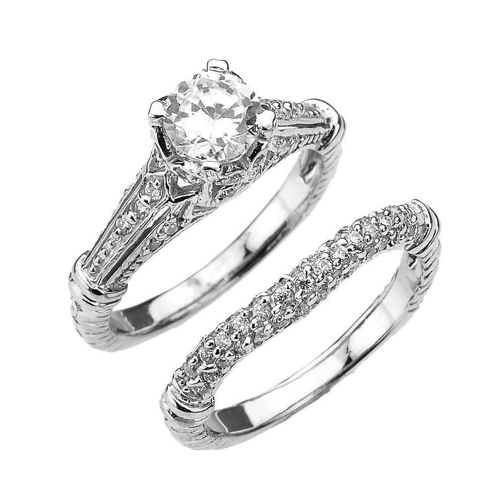 Fine 10k White Gold 2 Carat Total Art Deco Engagement Wedding Ring Set (Size 12)
