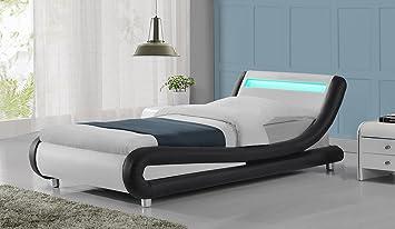 Madrid LED Lights Modern Designer Bed Frame  Black U0026 White Single Size ( Single 3ft