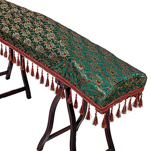 Monkeysell Decorated cover Musicallnstruments classical Lace tassel cloth of zither (guzheng) dust cover for Home,On indoor and Outdoor Stage (Jade green)
