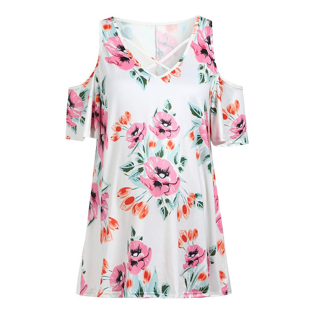 Women's Short Sleeve Tops Summer Cold Shoulder Flower Breastfeeding Nusring Maternity Clothes White