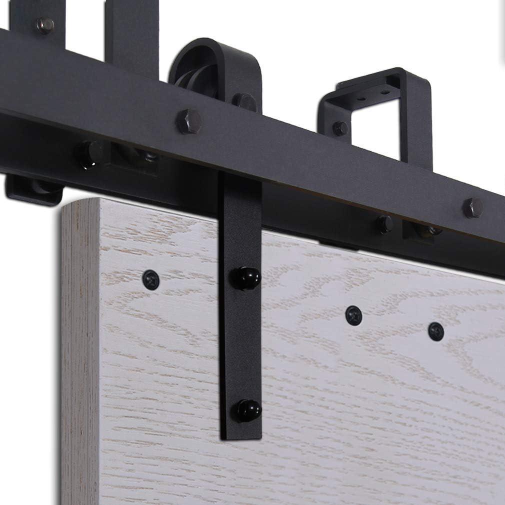 CCJH 6.6FT-200cm Bypass Quincaillerie Kit de Rail Roulette pour Porte Coulissante Ensemble Industriel Hardware kit pour Deux Portes Suspendue en Bois