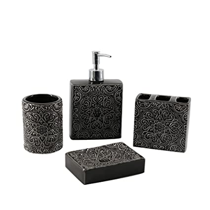 Mystery&Melody Bronce en Relieve patrón de baño Suministros loción y dispensadores de jabón Titular de Cepillo
