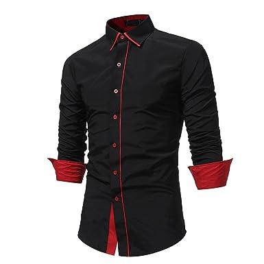 b64151b0c84ef VPASS-Men s Autumn Formal Patchwork Long Sleeve Shirt Plain Poplin Casual  Slim Fit Premiun Top