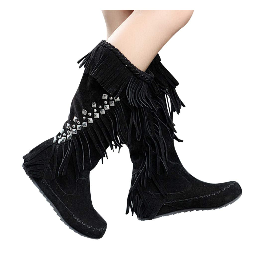 Dasuy Women Fringe Rivets Mid Calf Boot Flat Low Heels Comfy Boots Ladies Suede Western Moccasin Knee Boot (US:9.5-10, Black) by Dasuy
