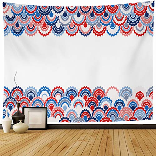 - Ahawoso Tapestry 80 x 60 Inches Patriotic Blue 4Th Solemn American Ribbons Bunting Holidays Lined Pink Colors Badge Border Cell Curve Home Decor Wall Hanging Print for Living Room Bedroom Dorm