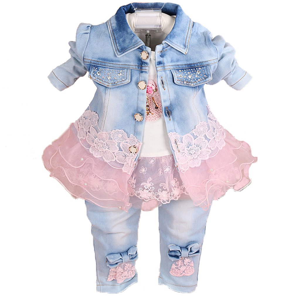 YAO Baby Girls Denim Clothing Sets 3 Pieces Sets T Shirt Denim Jacket and Jeans JiaoYong