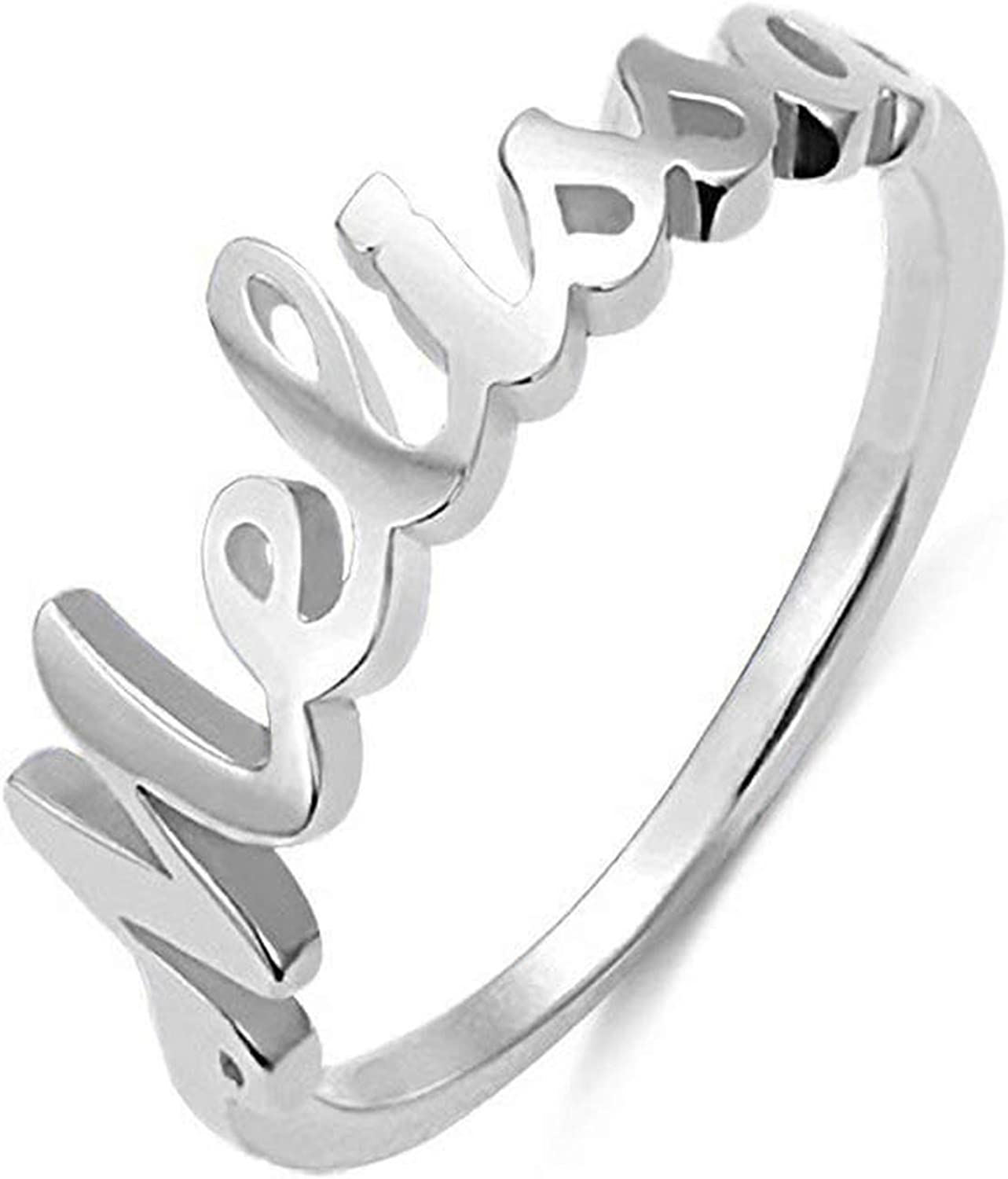 Allurelady Personalized Name Ring Sterling Silver Unisex Name Ring Custom Made with Any Name Promise Ring Jewelry Gift for Women