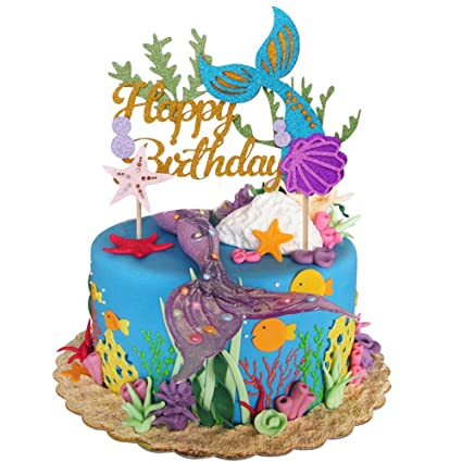Amazon Glitter Mermaid Cake Topper Happy Birthday Picks