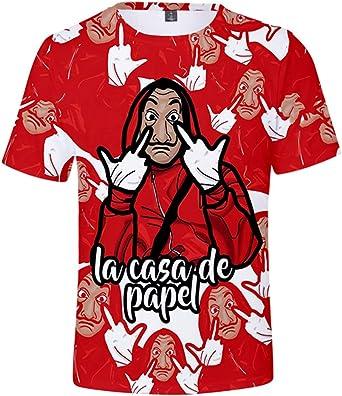 AMOMA Unisex La Casa De Papel Disfraz 3D Digital Camiseta Ocio ...