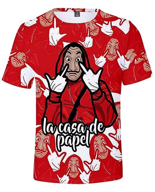 AMOMA Unisex La Casa De Papel Disfraz 3D Digital Camiseta ...