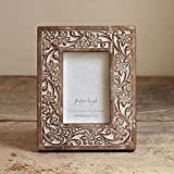 "Antique White Flower Mango Wood Photo Frame (fits 10"" x 8"" photo)"