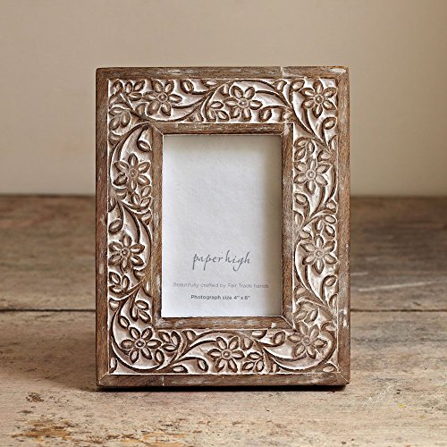 Paper High Antique White Flower Mango Wood Photo Frame fits 10