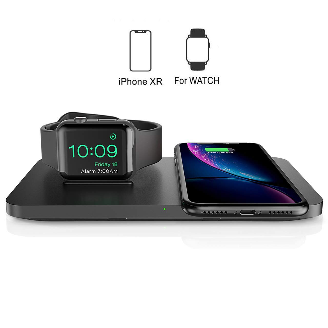Wireless Charger, Seneo 2 in 1 Dual Wireless Charging Pad with iWatch Stand for iWatch 5/4/3/2, 7.5W Qi Fast Charger for iPhone 11/11 Pro Max/XR/XS Max/XS/X/8/8P, Airpods 2 (No iWatch Charging Cable) by Seneo