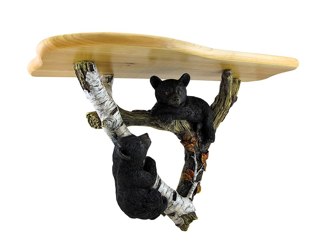Zeckos Black Forest Bear Cubs Decorative Wall Sculpture w/Wooden Shelf - 22 1/2 in. Long, 13 3/4 in. High, 7 3/4 in. Deep Cast Resin/Wood Shelf Expertly Sculpted/Meticulously Hand-Painted - wall-shelves, living-room-furniture, living-room - 61JNJ1tiPkL -