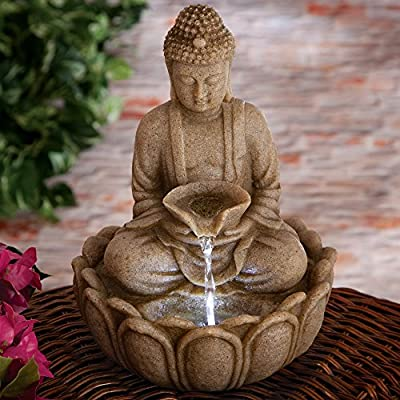 Bits and Pieces Indoor Buddha Fountain - Zen Tabletop Water Fountain