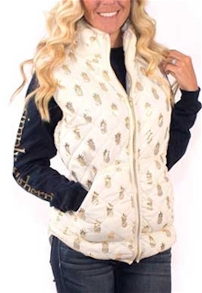 Simply Southern Golden Pineapple Cream Quilted Vest (Small) Preppy Style