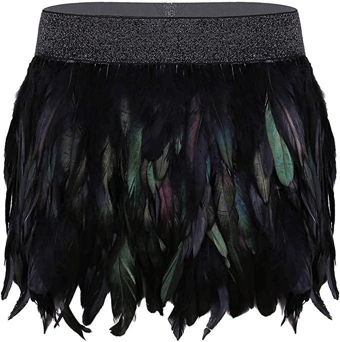 Alvivi Falda de Plumas Naturales Mujer Falda Corta Negra de Fiesta ...