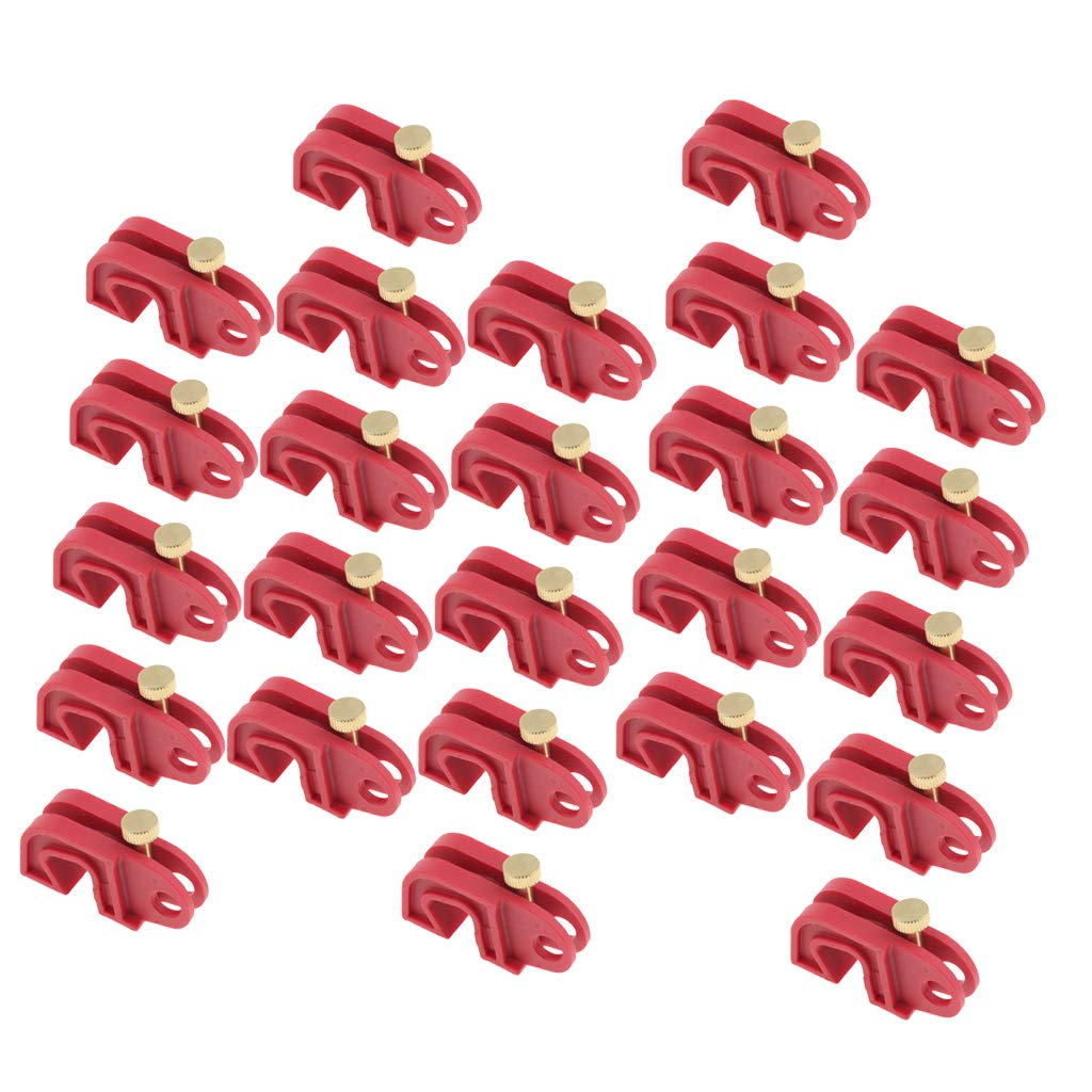 Homyl 25 Pcs Universal Circuit Breaker Lockout Red with Twisted Screw, Made of Glass Filled Nylon, Sturdy and Durable in Use