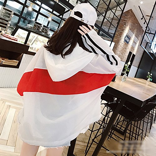 Sciolto Estivo In Colorate Cappuccio A Cappotto Zaypj Traspirante Con Xrxy Confortevole Rosso Cardigan Dimensioni Rosso Righe Colorate L cappotto Visiera Cuciture colore XEwIPP4q