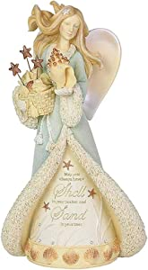 Enesco Heart of Christmas Coastal Seaside Angel Figurine, 8.07 Inch, Multicolor