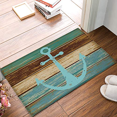 SIMIGREE Bathroom Rug, Vintage Retro Nautical Anchor Rustic Wood Bath Mat- Turquoise and Brown Non-Slip Soft Absorbent Indoor Bedroom Mat Kitchen Floor Carpet 20 x 32 Inch