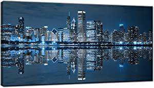 LevvArts Modern City Wall Art Chicago Downtown at Night Picture Print on Canvas Building Artwork for Office Living Room Wall Decoration