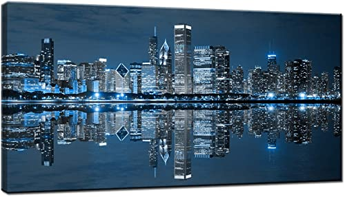 LevvArts Modern City Wall Art Chicago Downtown at Night Picture Print on Canvas Building Artwork
