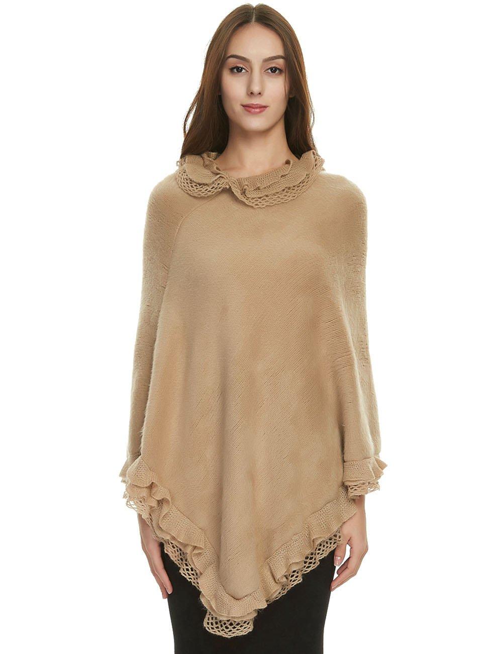 Ferand Women's Ruffle Lace Soft Poncho Sweater Warm Pullover Cape, Khaki