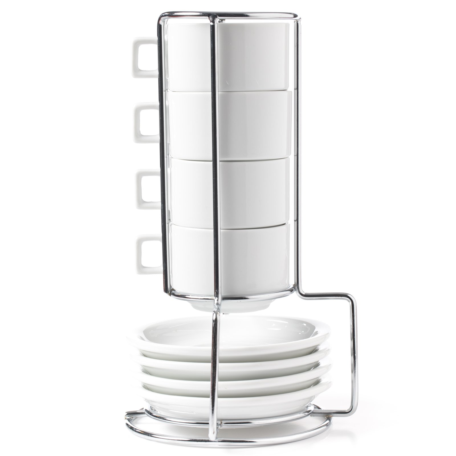 HUJI Stack-able Porcelain 3.2 OZ Espresso Turkish Coffee Cups and Saucer with Chrome Rack (9 Piece Set) (1)