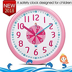 12 Colorful Wall Clocks for Kids Room-Cute Mermaid Dolphins Themes-ABS Plastic-Child Easy To Read Wall Clock with Silent&Large Digits, Bedroom Decor Ideas/ Baby Shower Gift for Nursery/Boy Girl Pink