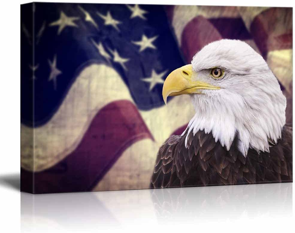 """wall26 Canvas Prints Wall Art - Bald Eagle with The American Flag 