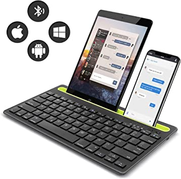 Amazon Com Rechargeable Bluetooth Mini Keyboard With Phone Holder Wireless Multi Device Dual Channel Keyboard For Tablet Laptop Phone Compatible With Ios Windows Android Black Computers Accessories