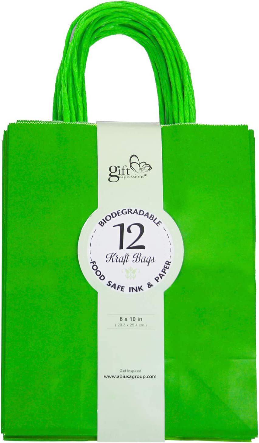 Gift Expressions 24CT Medium Green Biodegradable, Food Safe Ink & Paper, Premium Quality Paper (Sturdy & Thicker), Kraft Bag with Colored Sturdy Handles (Medium, Green)