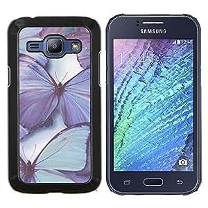 EJOOY---Cubierta de la caja de protección para la piel dura ** Samsung Galaxy J1 J100 ** --mariposa púrpura naturaleza azul de primavera