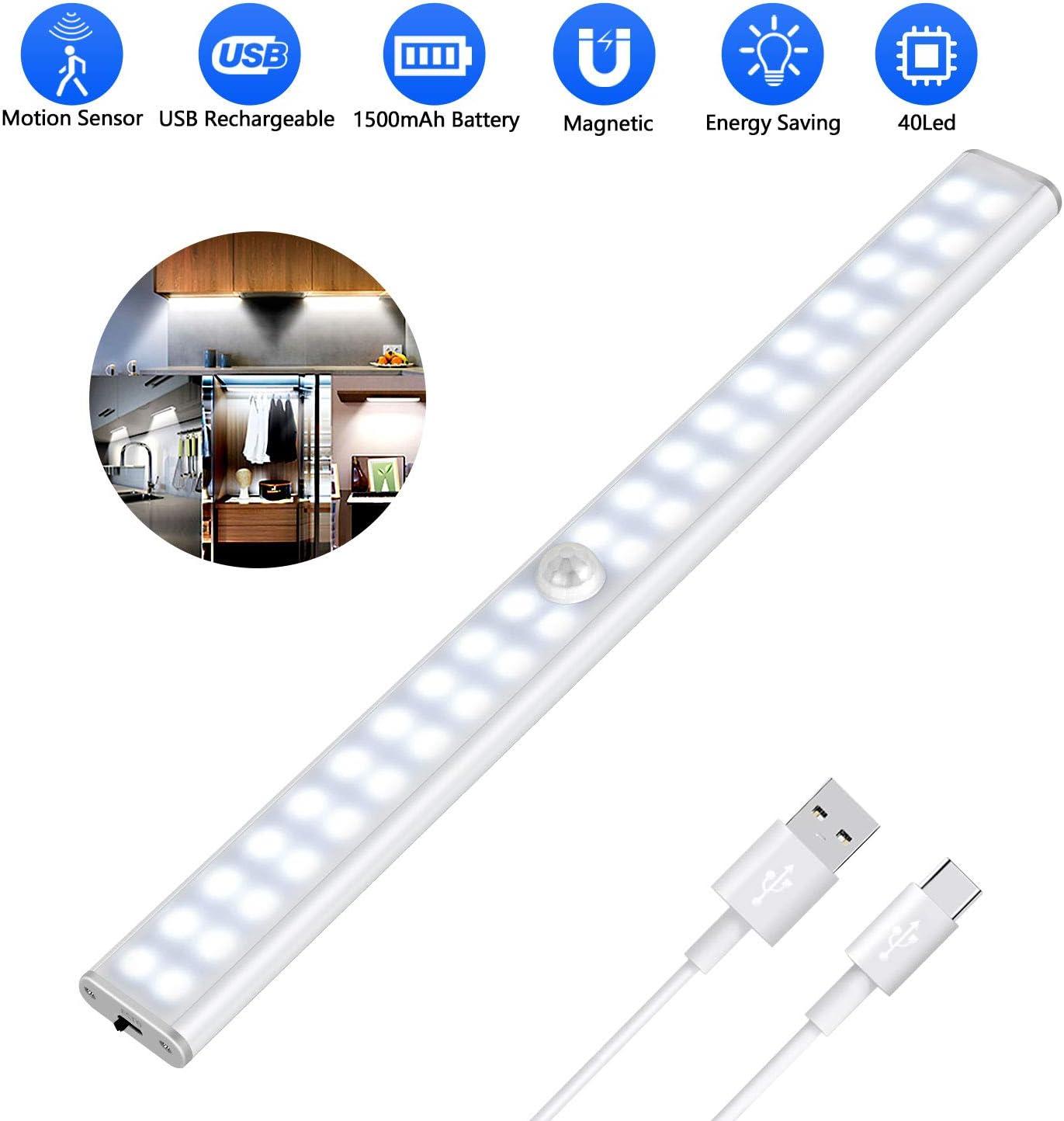 Luz Armario 40 LED, USB Recargable Luces LED Armario con Sensor Movimiento, 3 Modos Lámpara LED de Armario con Tira Magnética, para Armario, Cocina, Escalera, Pasillo y Emergencias: Amazon.es: Iluminación