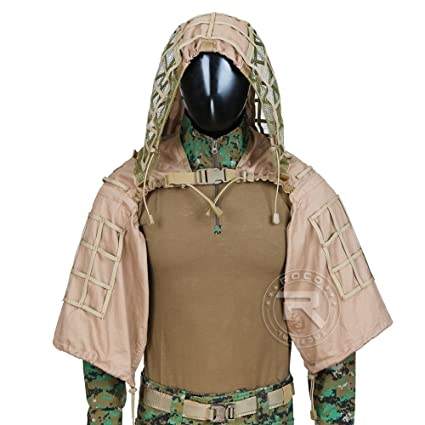 ROCOTACTICAL Traje De Camuflaje Traje Sniper Juego del Ghillie Base Ghillie Víbora Capucha