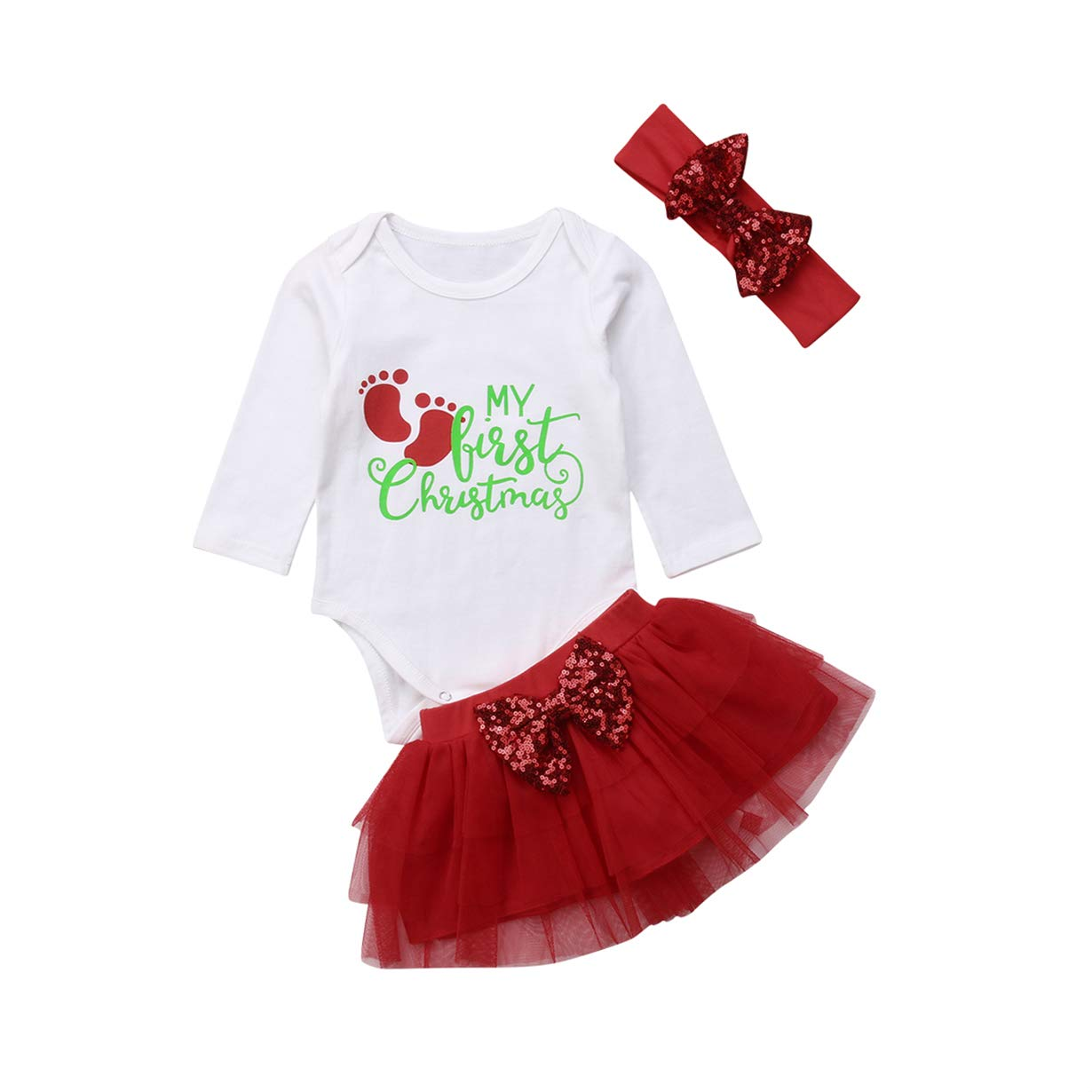 GoodFilling Newborn Infant Baby Girl My First Christmas Print Romper Red Tutu Skirt Headband 3 Pcs Outfits