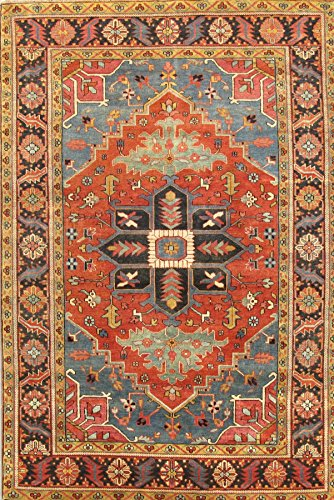 - Pasargad's Heriz Collection Hand-Knotted Rust/Navy Wool Area Rug (3' 0