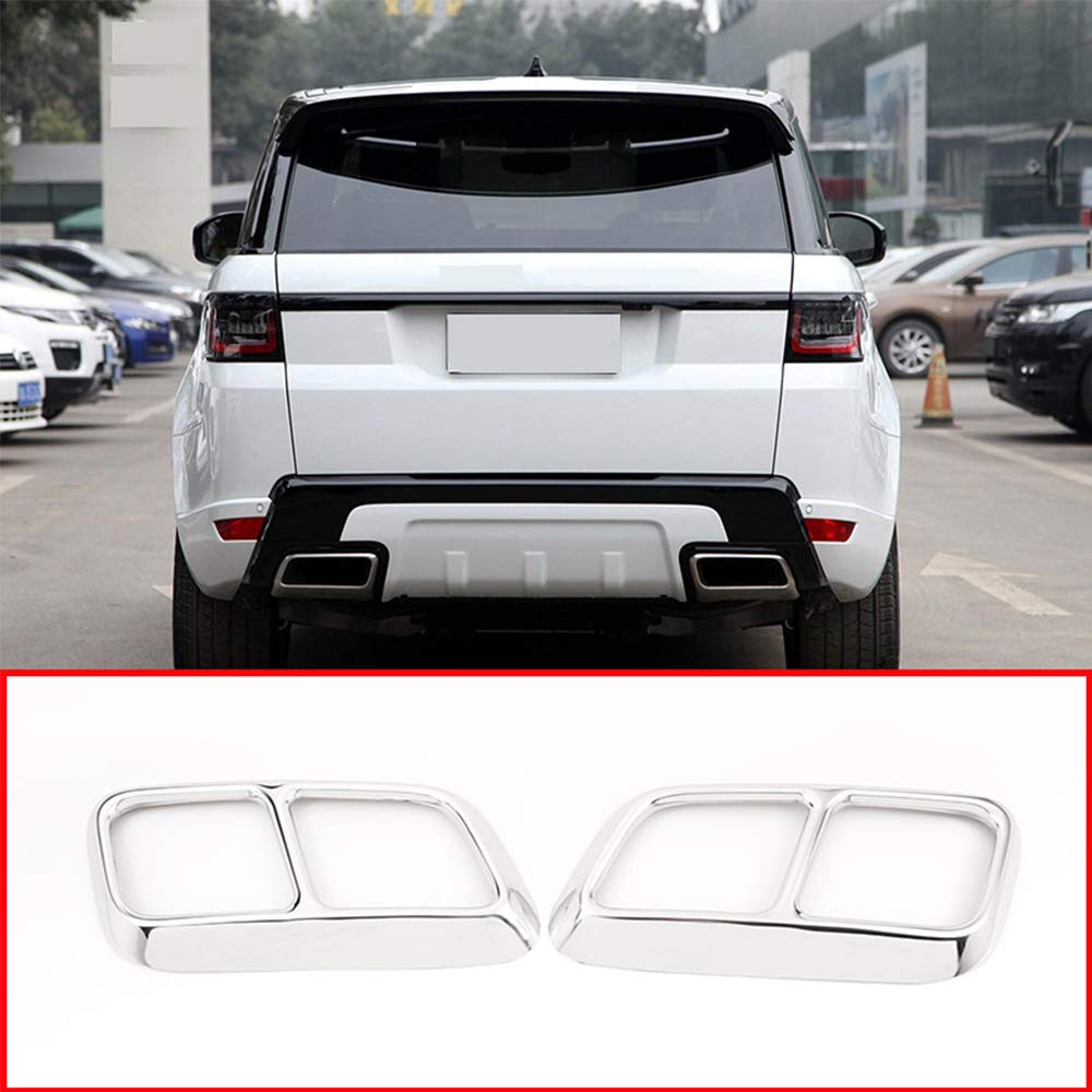 YUECHI 2 pcs Shiny Silver Chrome Stainless Steel Exhaust Pipe Cover Trim for Range Rover Sport 2018 2019 Car Accessories by YUECHI