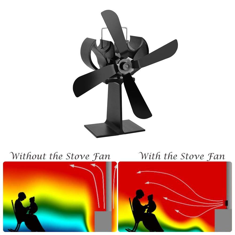 Alian Heat Powered Stove Fan, 4-Blade Thermo-Motive Fireplace Fan Heating Furnace Heat Powered Stove Fan Aluminium Silent Eco-Friendly for Wood Log Burner Fireplace